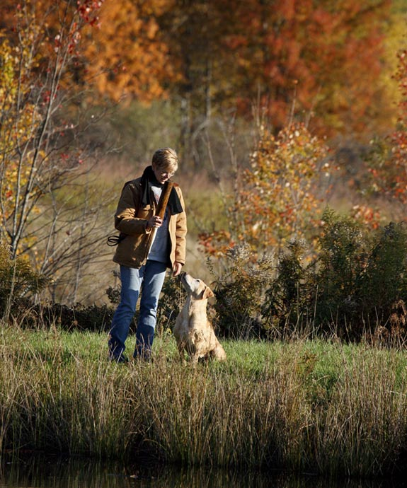 Animal Images labrador and owner outdoor autumn